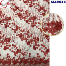 2017 Gorgeous Red Embroidery 3D Lace Fabric Graceful Beaded Lace Fabric With Rhinestone CL61084