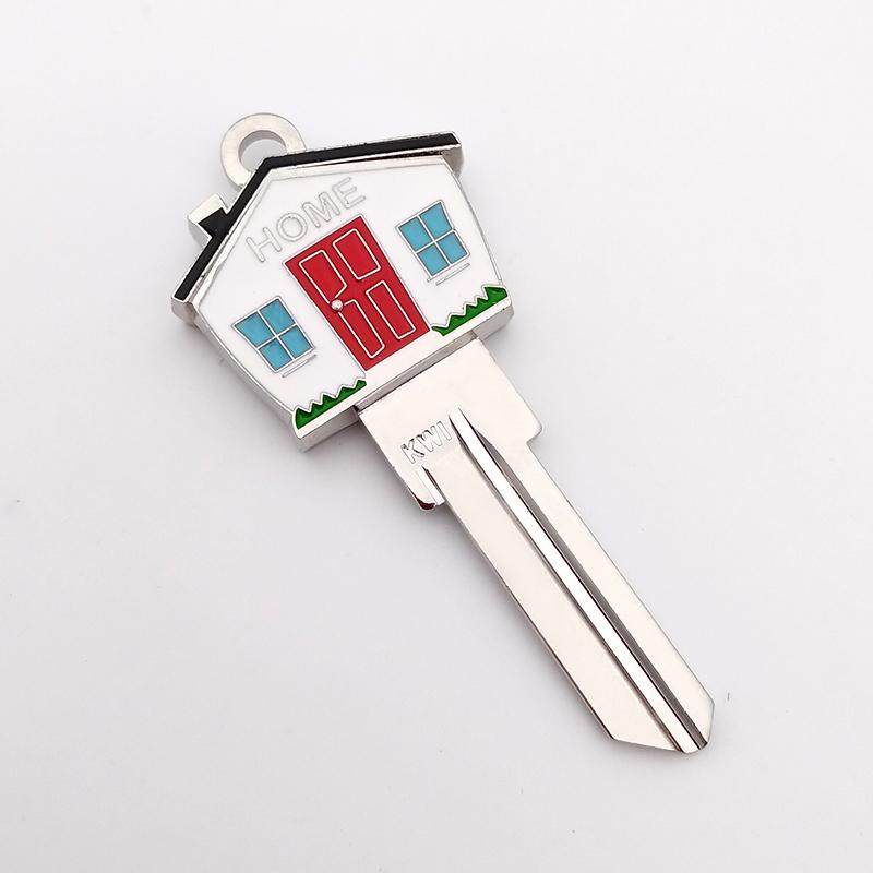 Customized high quality soft enamel cozy house blank key door lock keys make your own individual key Keychain Ring