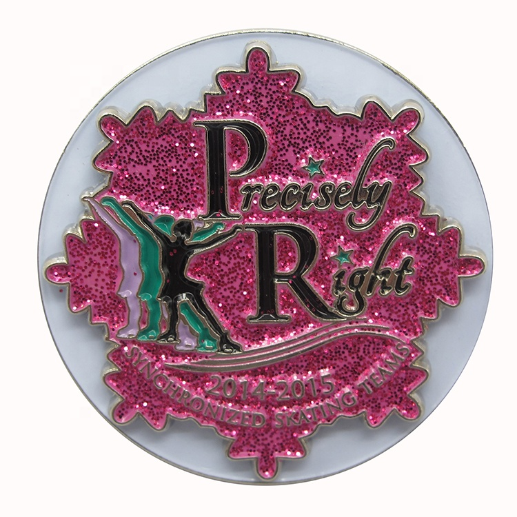 Free samples clip glitter expory reusable round blank enamel name
