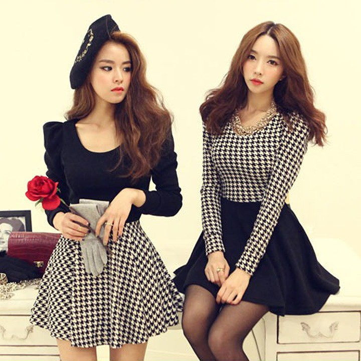 New Womens Spring Houndstooth Puff Sleeve Round Neck Knit long-sleeve Evening Dress SV003326