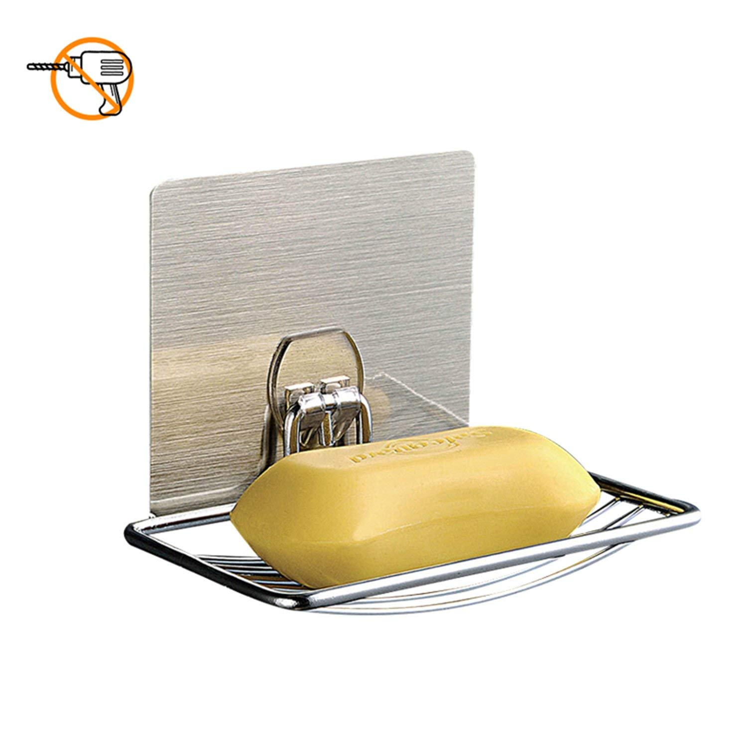 Plabingo Soap Dish, Wall Mounted Soap Dish Holder, Self-Adhesive & Reusable Stainess Steel Soap Dish Tray, for Kitchen & Bathroom,Suitable for Ceramic Tile,Plastic,Glass & More,TZ-5003(Chrome)