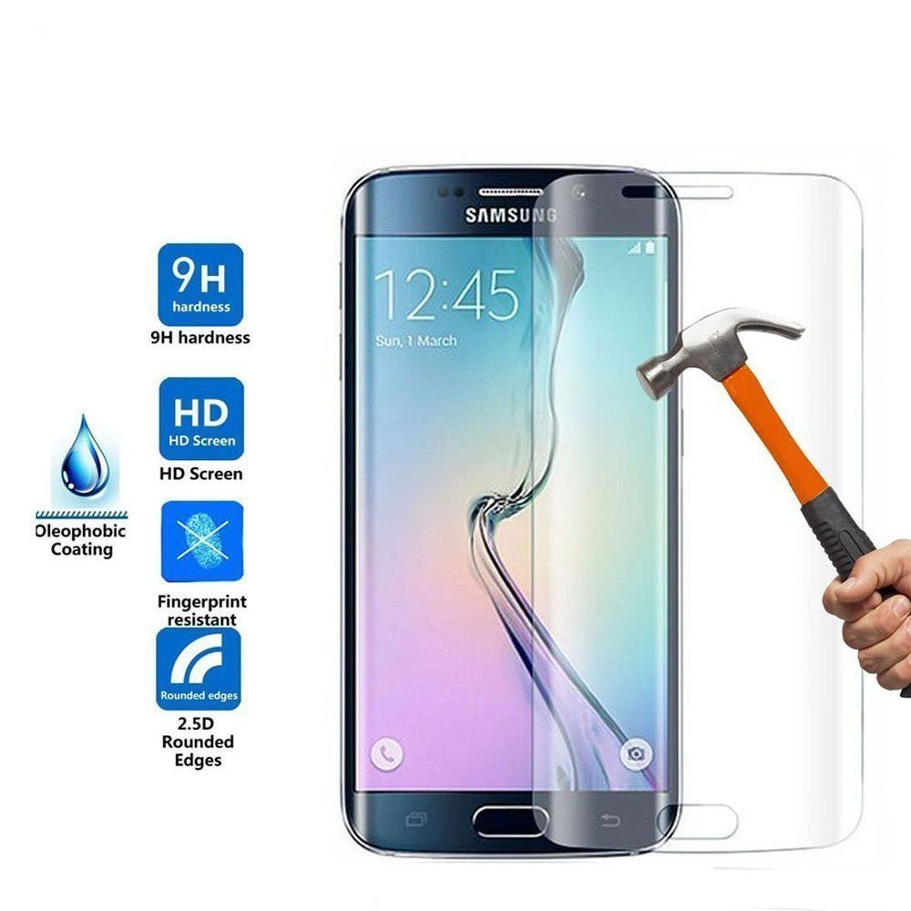 Smiling S7 edge screen protector ,Samsung Galaxy S7 Edge 0.2mm Shield Tempered Glass Armor Guard Shatter-Proof 9H High Definition-3D curved-Full 100% Coverage (full clear)