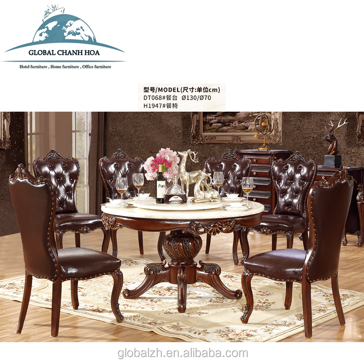 Italian palace and royal design baroque style oval dining table sets with 8 chairs