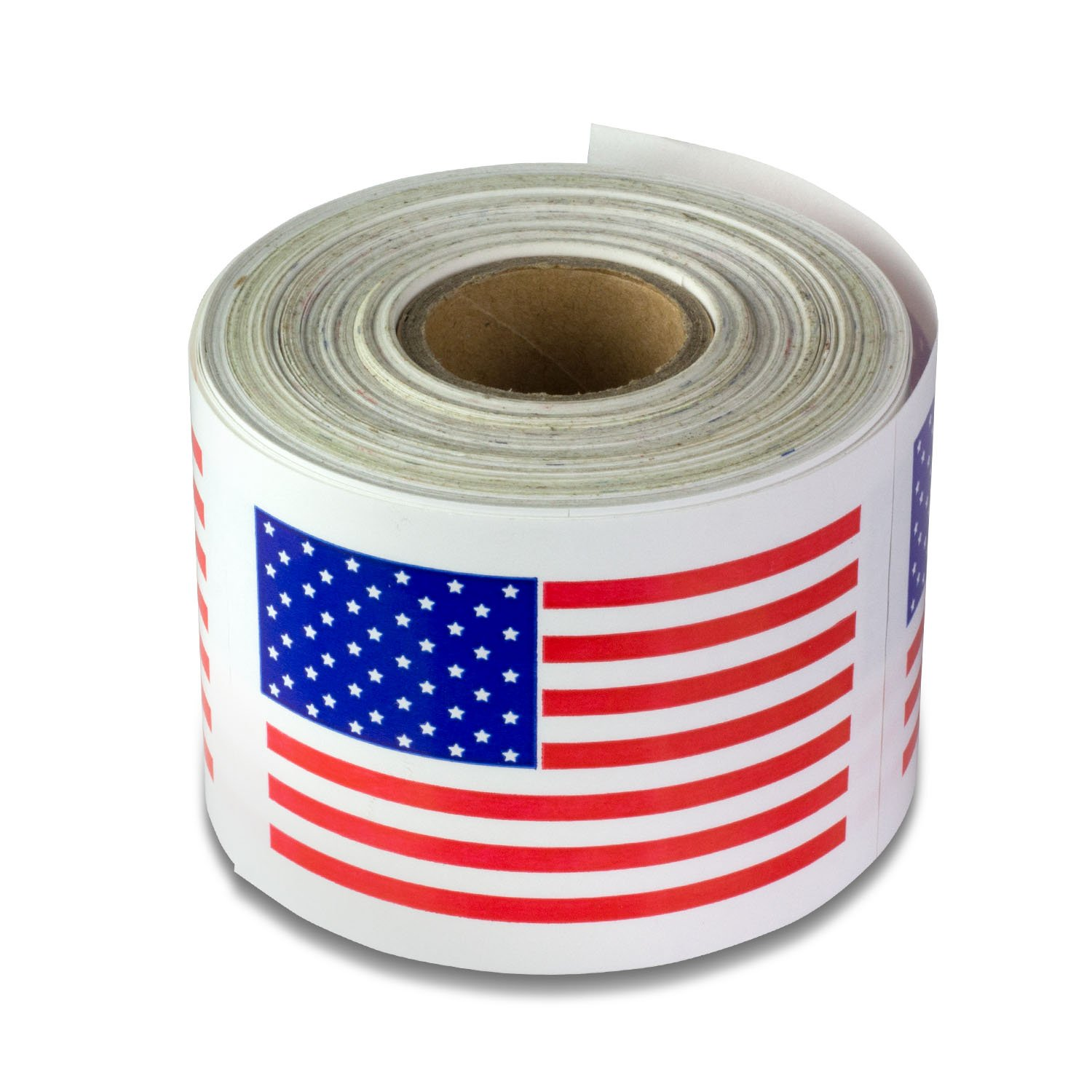 "TUCO DEALS - 2"" x 3"" Rectangle American USA Flag Logo Self Adhesive Shipping Mailing Labels / Stickers (Red/White/Blue / 300 Lables Per Roll)"
