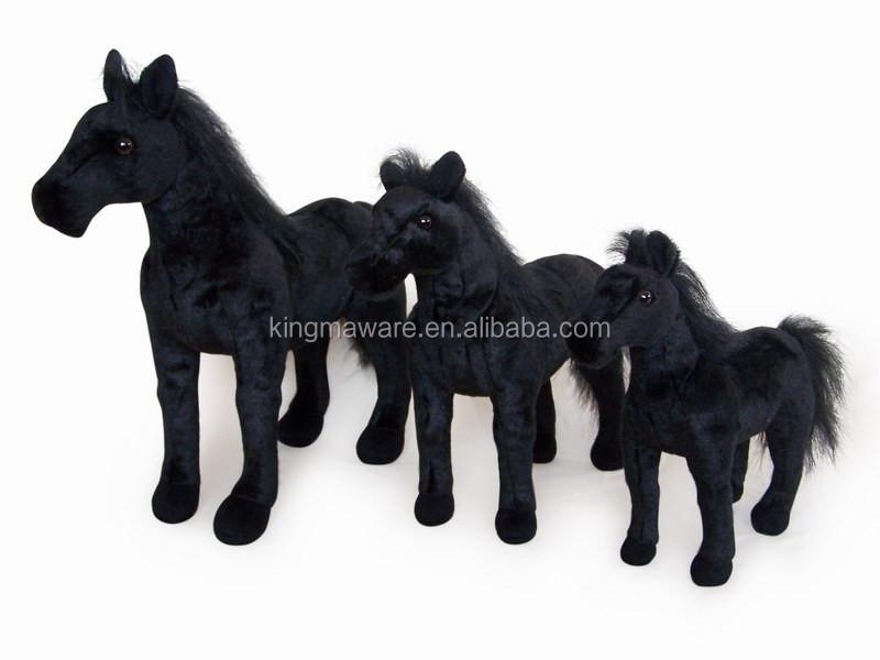 Realistic Plush Black Horse Toy Stuffed Standing Black Horse Plush