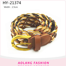 Weaving belt Elastic Stretch Cotton and pu mix Braided Belt