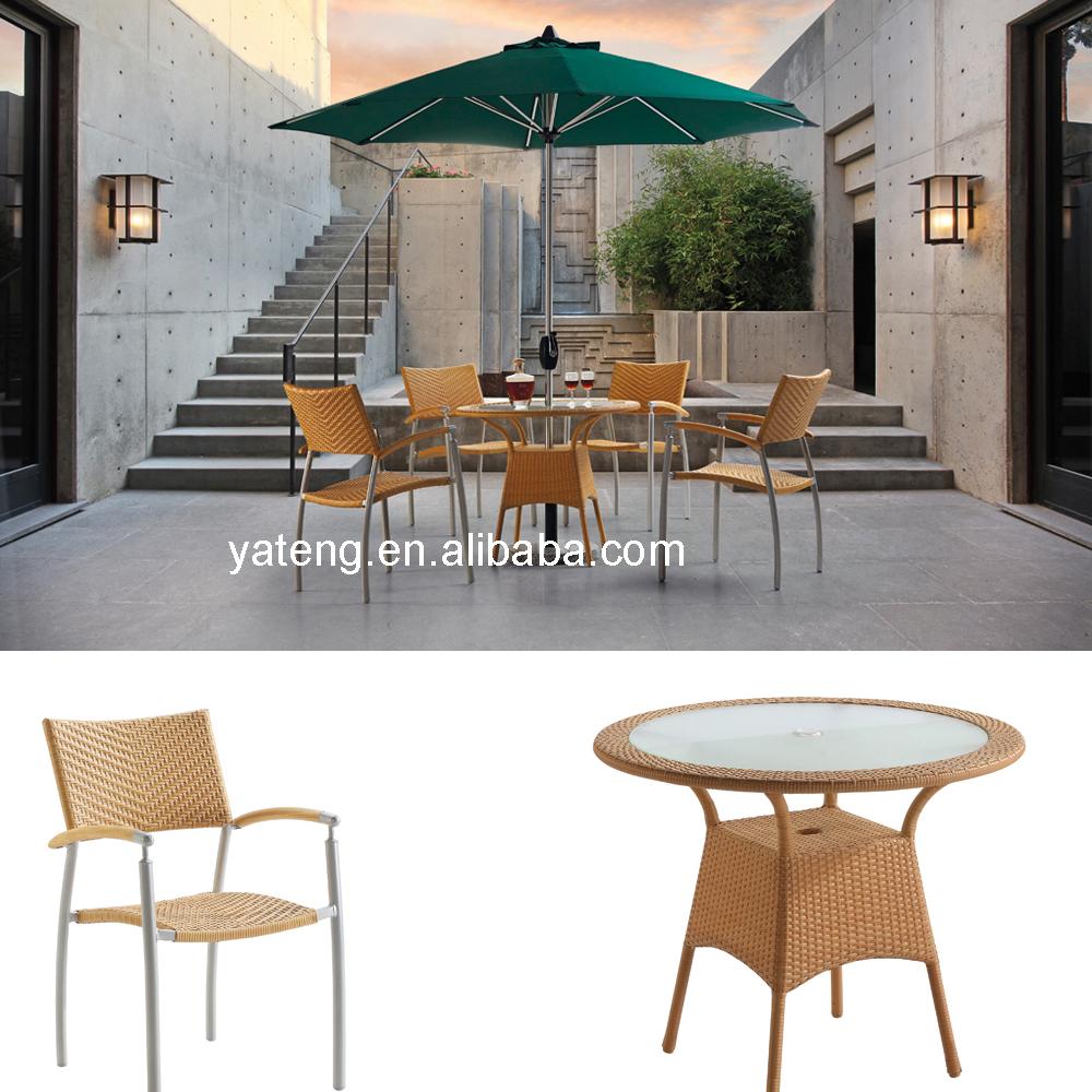 Modern design table set garden furniture greece with umbrella outdoor furniture