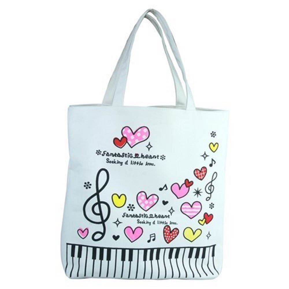 Lehope Women Girl's Music Symbol Cotton Canvas Tote Shopping Handbags with A Free Music Key Chain (P white)