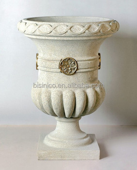 Large Sand Stone Garden Urn, Rustic Garden Planter Indoor Decorative Flower  Pot, Outdoor Sandstone