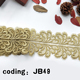 Online custom design your own gold polyester embroidered bridal lace trim