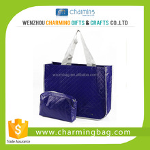 Blue Personized Croco Laminated Shopping Tote Bag