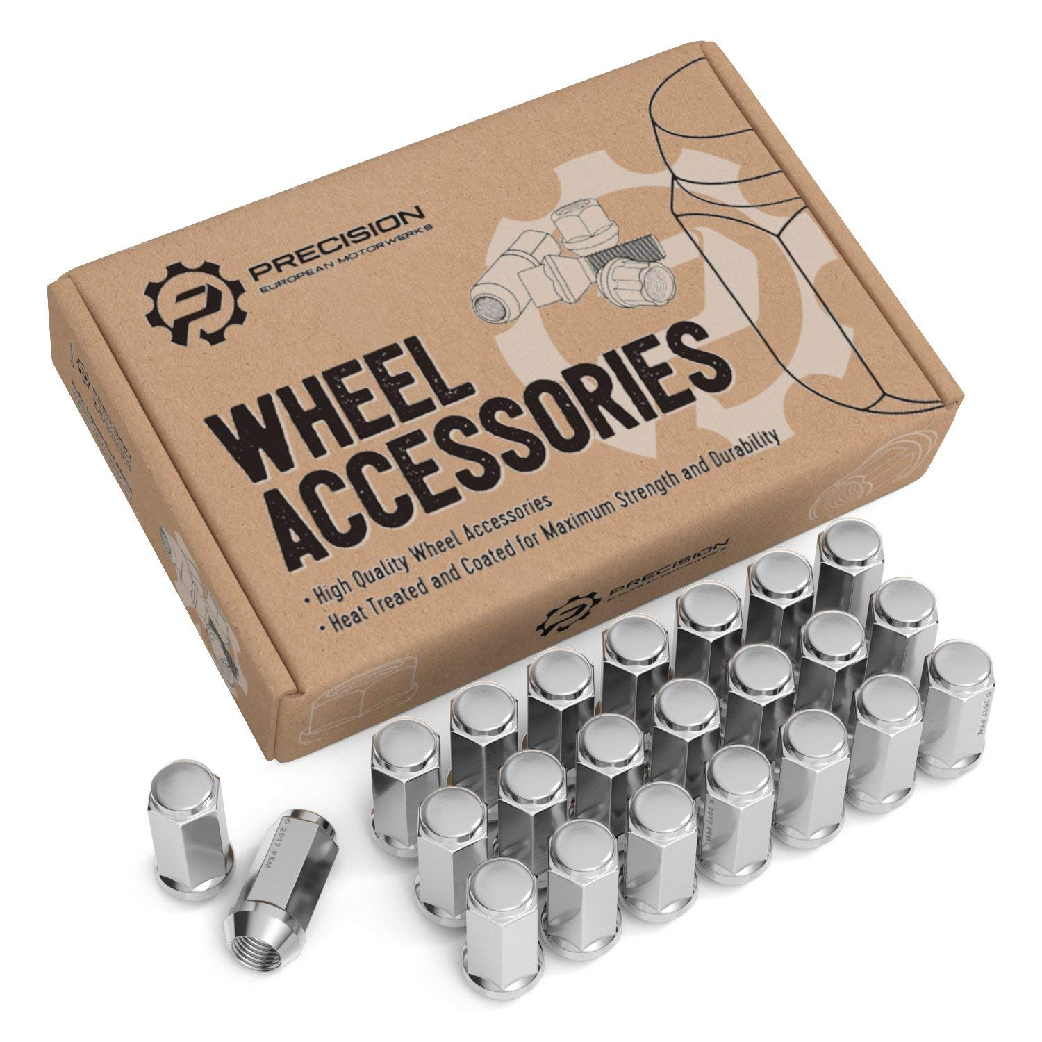 """23pc Silver Chrome Bulge Lug Nuts - 1/2""""-20 Thread Size - Conical Cone Taper Acorn Seat Closed End Extended - 1.8"""" Length - Installs with 19mm or 3/4"""" Hex Socket - for 5Lug Jeep Vehicles Wheels"""