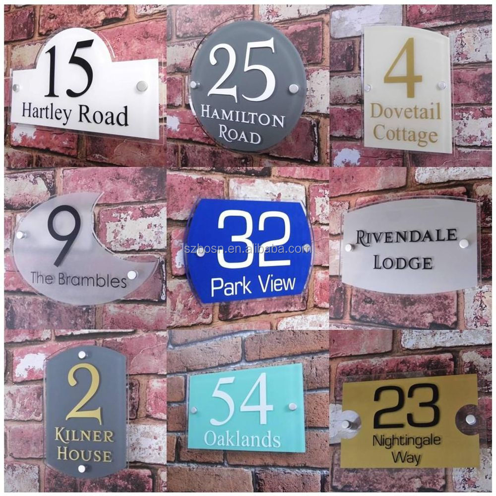 Modern Style Acrylic House Door Sign Number/perspex Street Name ...