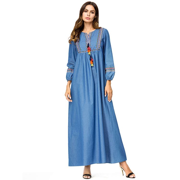 Indonesia Clothing Plus Size Muslim Casual Women Umbrella Denim Maxi Dress  - Buy Denim Maxi Dress,Muslim Casual Dress,Plus Size Dresses Maxi Dress ...