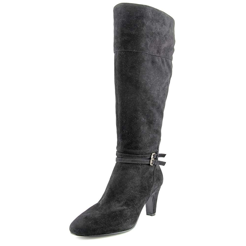 SUKEQ Women Slouchy PU Leather Plush Wedges Mid Calf Boots Outdoor Casual Snow Combat Boots Wide Calf