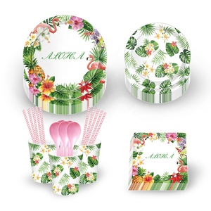 MM007 Hawaii Themed Summer holiday party disposable tableware set eco-friendly custom print paper plate