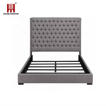 2019 modern fancy bed design wooden king size bed frame with headboard