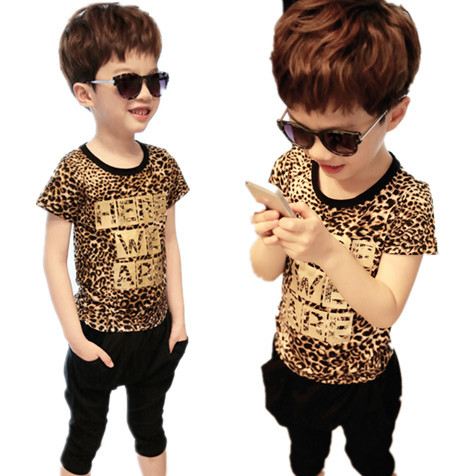 2015 fashion leopard print cotton summer boys girls children clothing set short sleeve t-shirt + harem pants 2pcs kids clothes