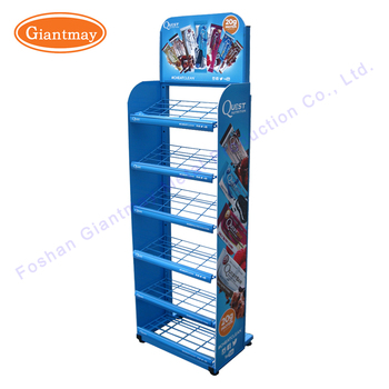 Blue Color Retail Metal Wire Shelves Display Stands For Chips