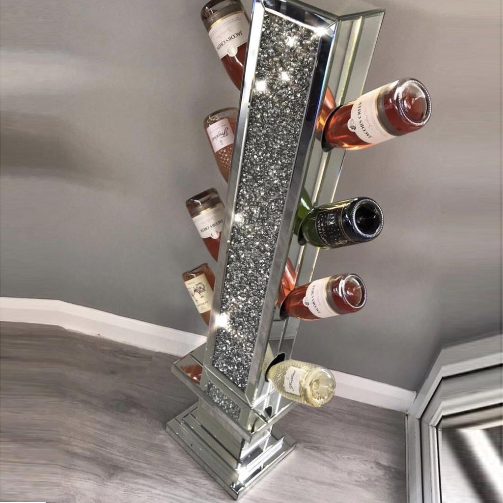 CRUSHED DIAMOND SILVER CRYSTAL WINE//MUG HOLDER
