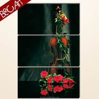 High definition interior painting triptych oil painting violin and flower print art