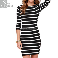 OEM casual 2/3 sleeve white black stripes bodycon dresses for women autumn winter pencil dress online shopping China supplier