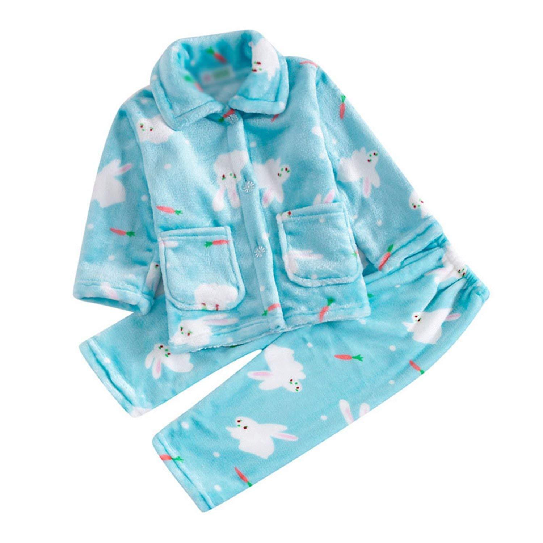 Kateirmaso Pijamas Kids Pijama Set Coral Fleece Baby Boy Girl Printing Pajamas Children Flannel Sleepwear Infant Pajamas Warmed for Winter Blue Rabbit Pajama 8