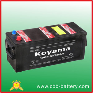 Super European DIN 62034 Dry Charged 12V120Ah Lead Acid Best Auto/Truck/Car Battery