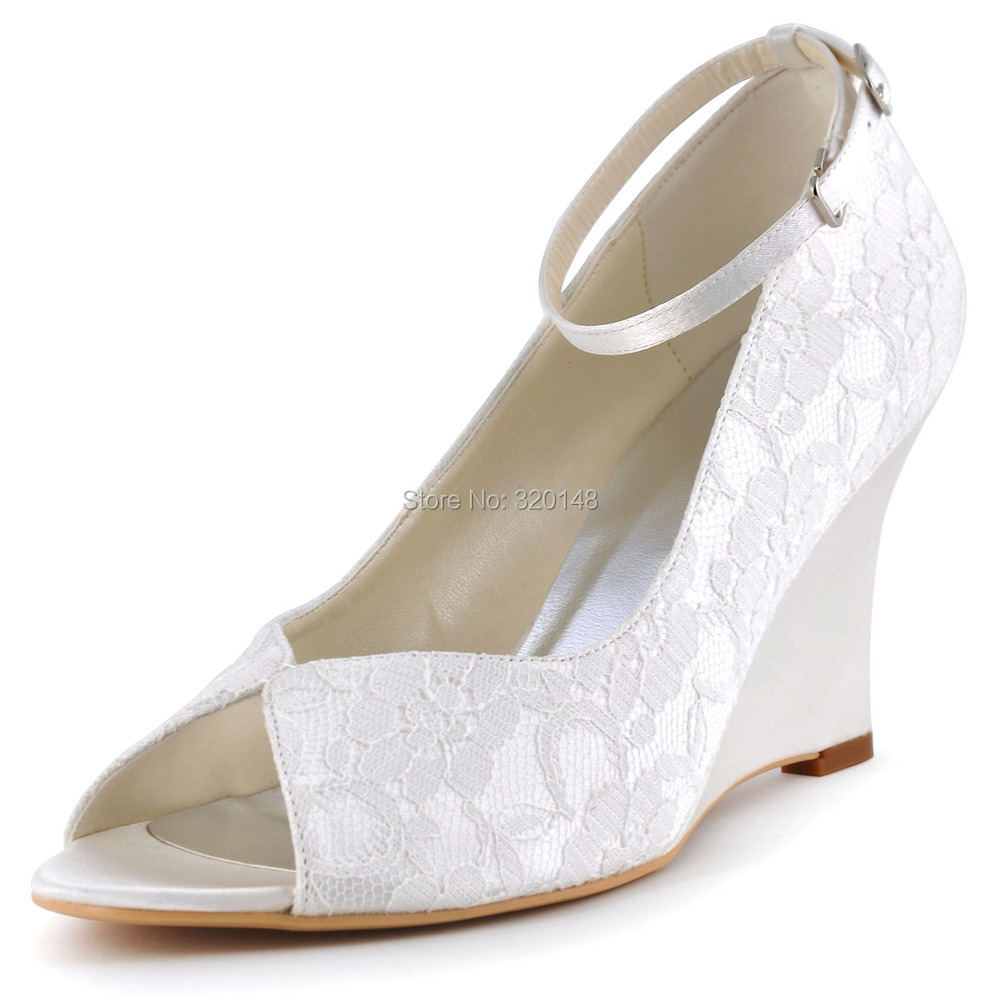 Ivory Lace Shoes With Strap