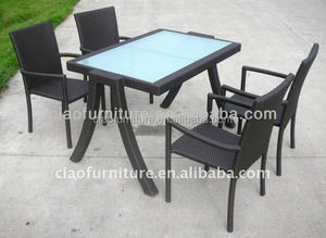 Rattan furniture outside table with 4 chairs