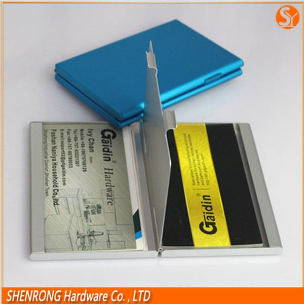Double folded and opened aluminum card holder for business card use and credit card
