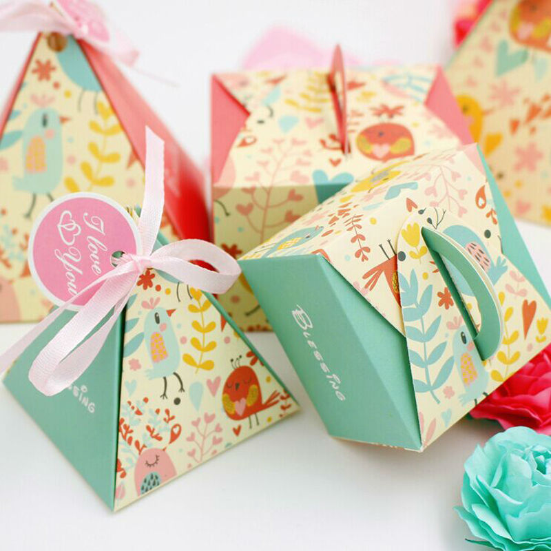 Lovely Wedding Birthday Favor Party Ribbon Gift Sweets Candy Box High Quality Printed Color Wholesale Hot Selling