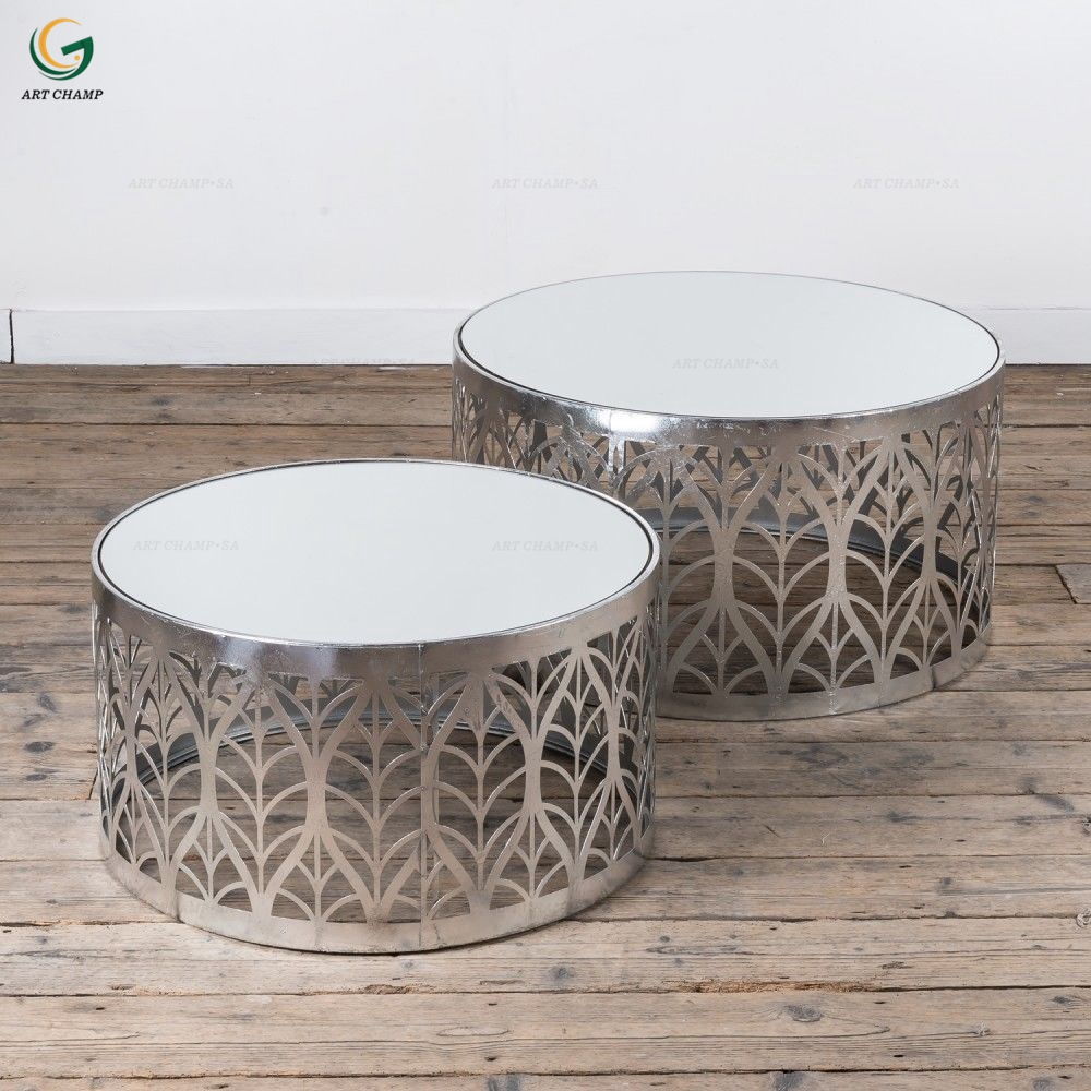 Set 2 Leaf Art Deco Style Silver Metal Gl Top Round Side Coffee Table For Hall Furniture