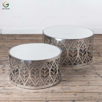 Set 2 Leaf Art Deco Style Silver Metal Gl Top Round Side Coffee Table For Hall Furniture Product On Alibaba