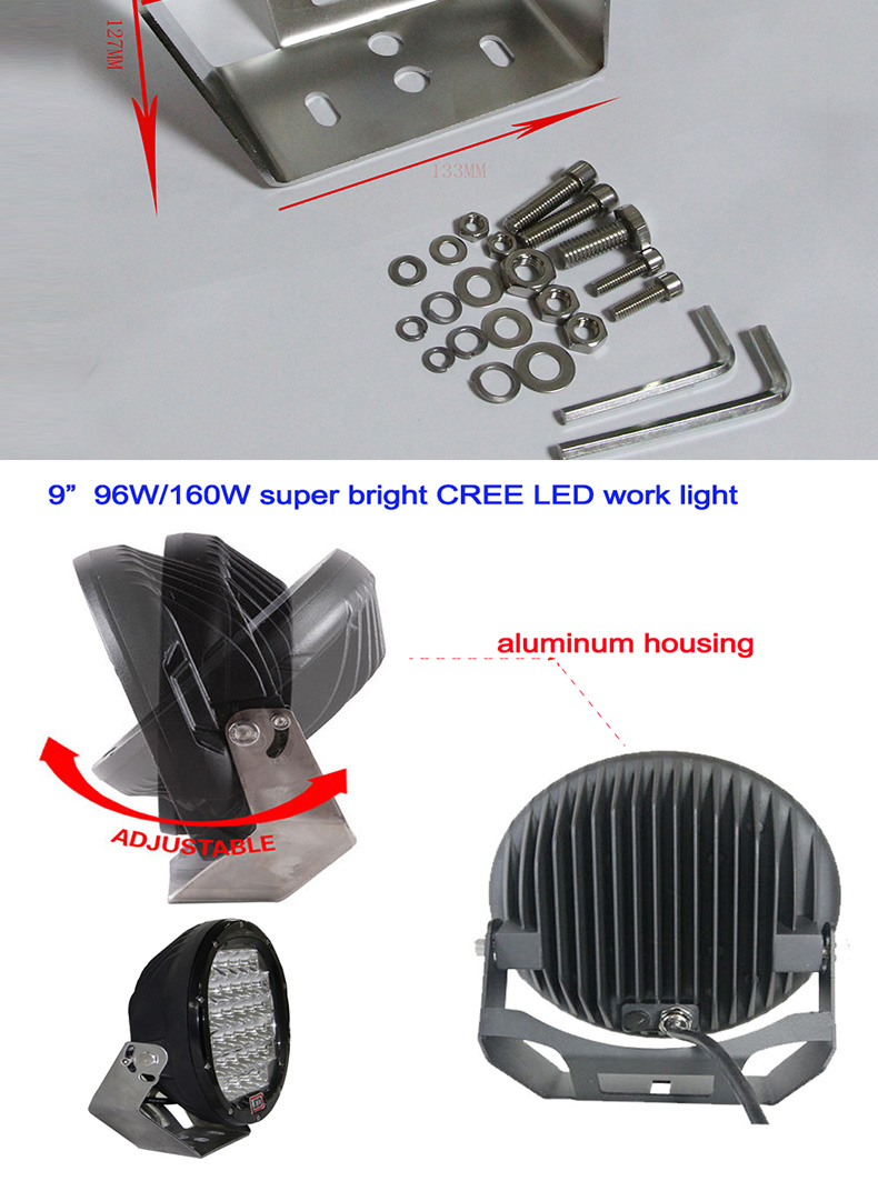 9inch high power round led work light