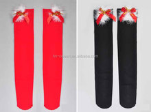 Bulk wholesale knee high Christmas bow socks for ladies