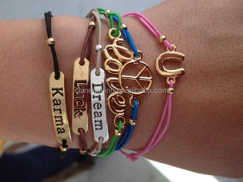 Custom Logo Charm Bracelet Personalized Metal Cord Wish Friendship