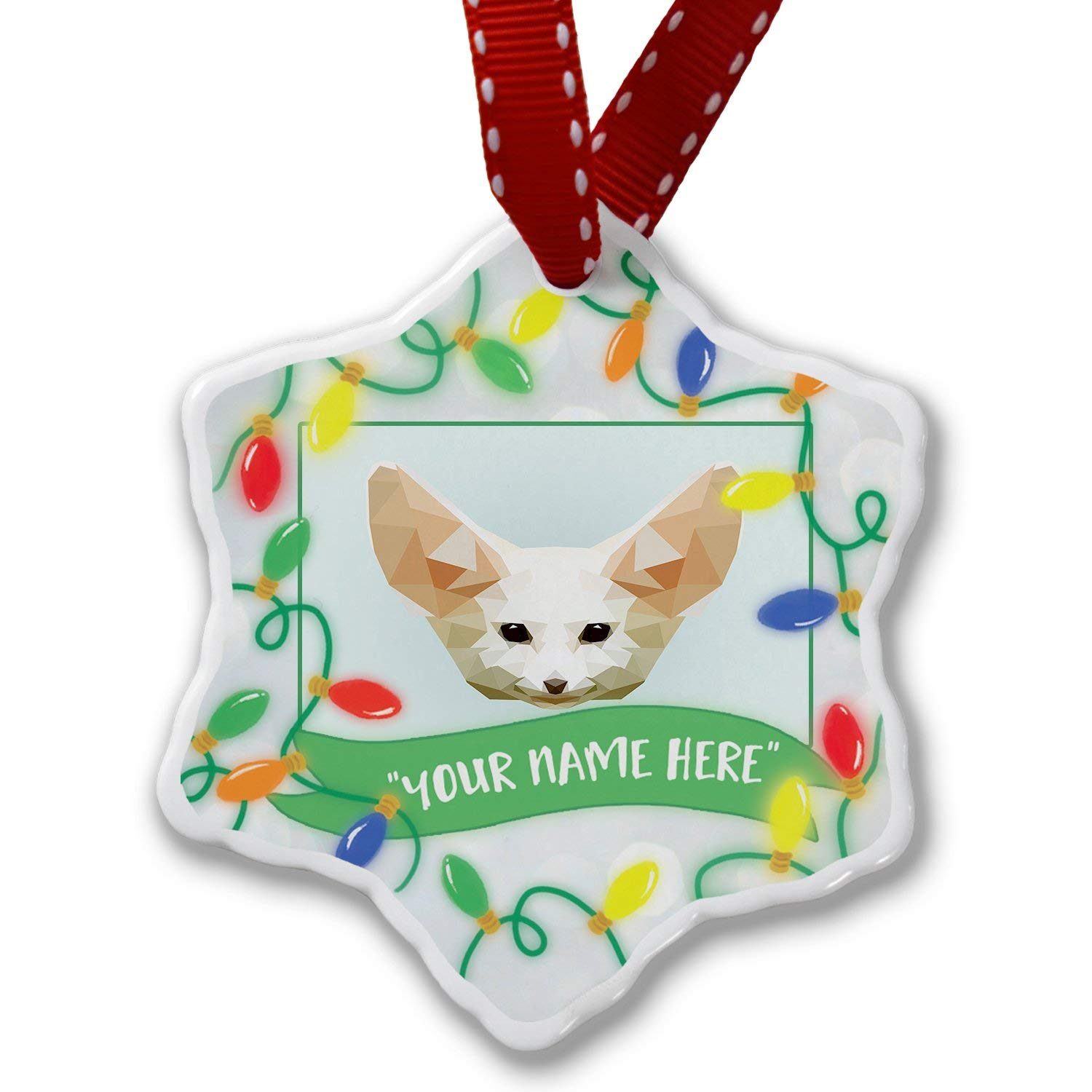 Personalized Name Christmas Ornament, Low Poly Animals Modern design Fennec Fox NEONBLOND