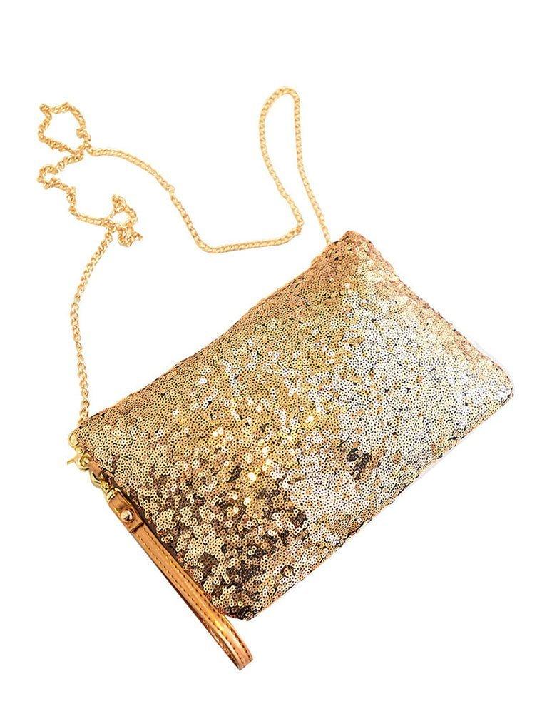 niceeshop(TM) Vintage Sequined Envelope Party Evening Purse Clutch Handbag,Gold
