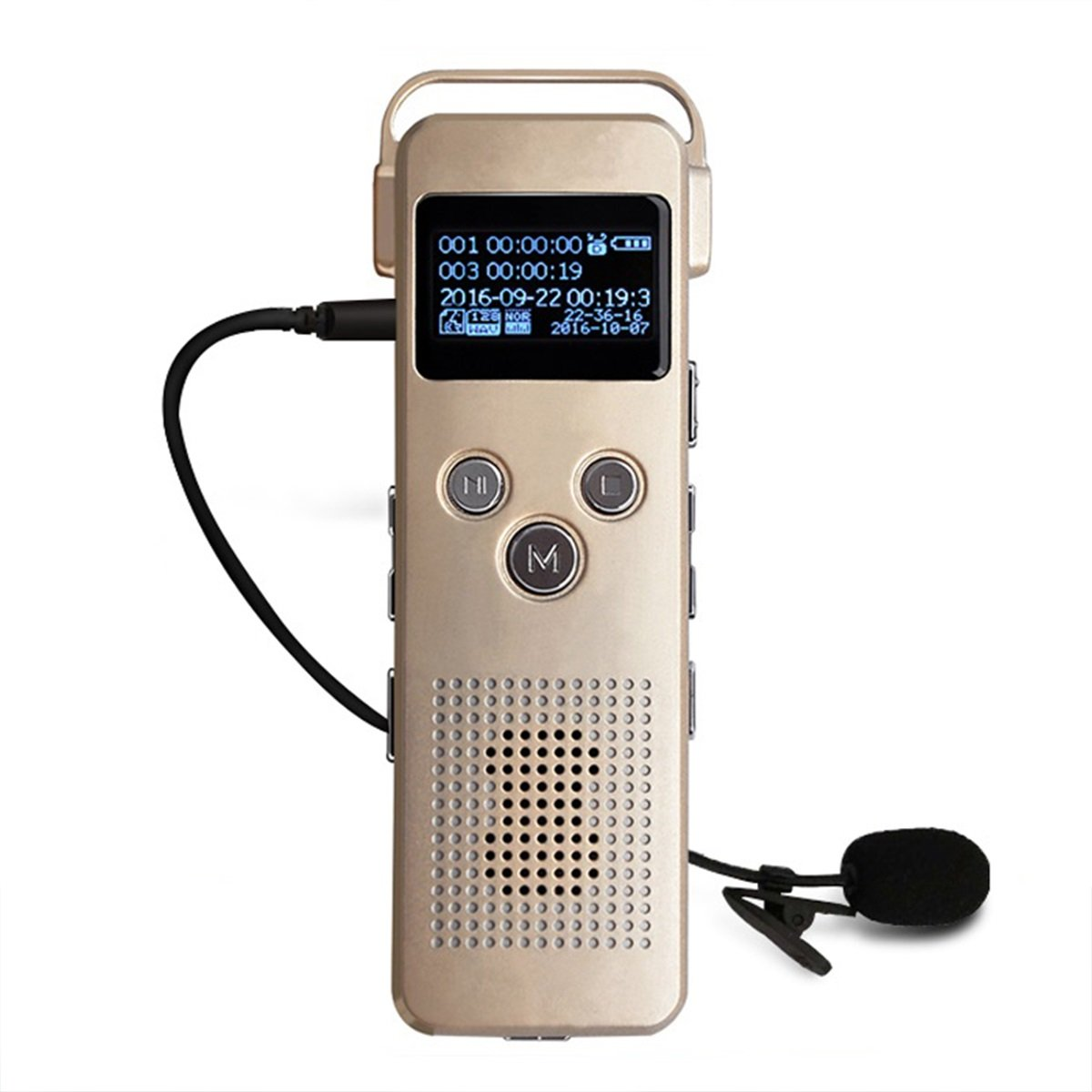 Noyazu A20 Digital Voice Recorder 16GB with MP3 Music Player Pocket Rechargeable Dictaphone (Gold)