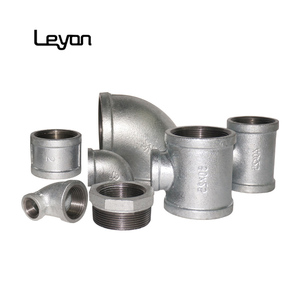 China malleable iron pipe plumbing fittings galvanized BSPT/NPT threaded bushing 90R elbow equal socket reducing tee and elbow