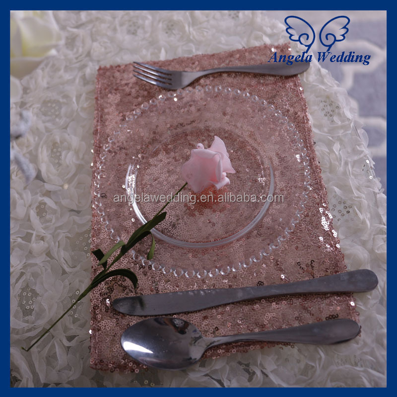 NP002B New cheap elegant fancy wedding decoration handmade rose gold sequin table napkin holder