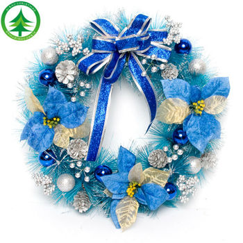 wholesale bulk blue bowknot ball pine cones to decorate bulk christmas wreath decoration picks - Christmas Wreath Decorations Wholesale