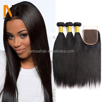 Hot Selling Virgin Natural Straight Black Women African Hair Bundles ... 583a28ed54
