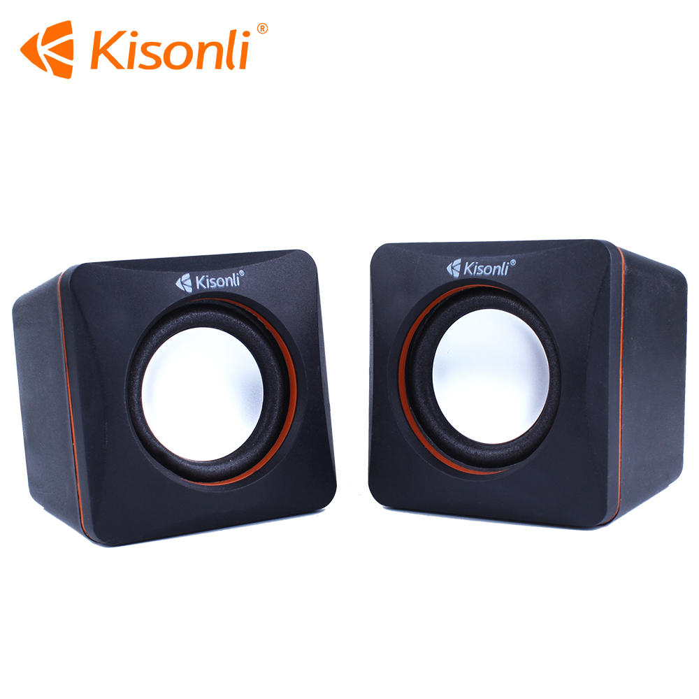 Kisonli Mini Potable computer USB Speaker 2.0 Wooden with USB cable for play music