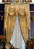 Luxury Gold Satin Jacquard Valance Drop Door Curtain, Living Room Decorated Curtain