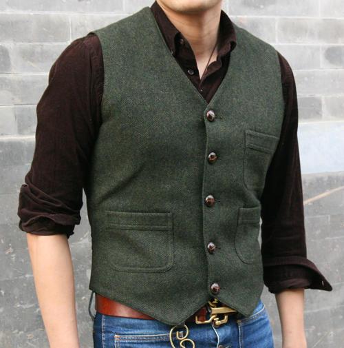 Vintage Harris Tweed Run Style Vest Overall Work Wool