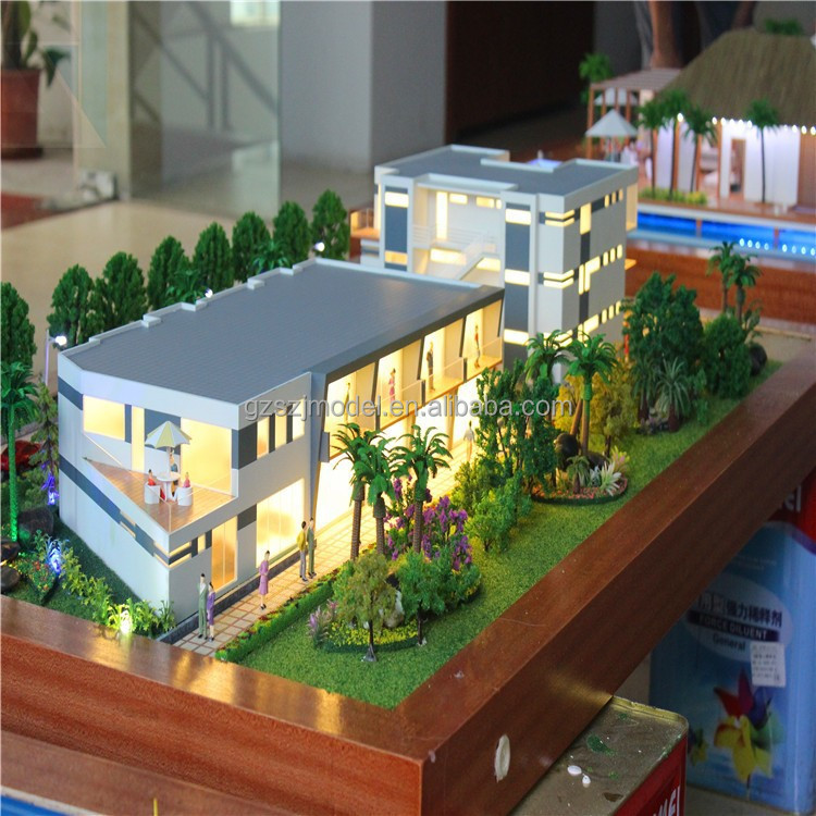 1:100 scale miniature villa model with led light and trees