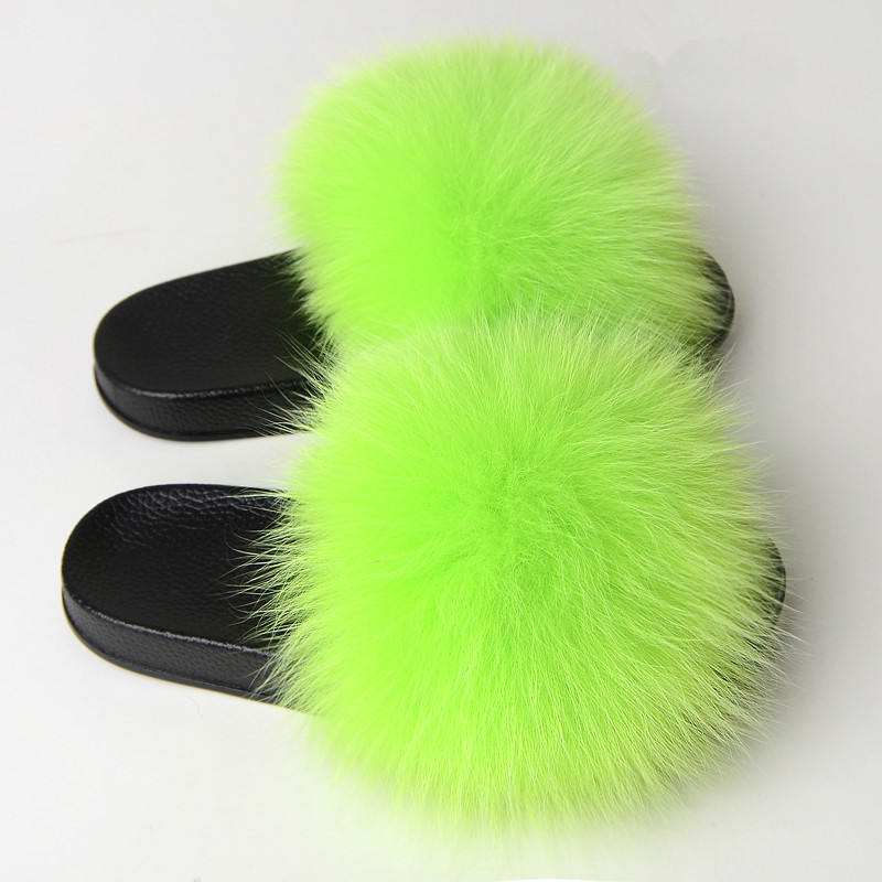 New Arrival Jtfur Custom Color Fluffy Lime Green Fox Fur <strong>Slippers</strong> Real Fur Slides