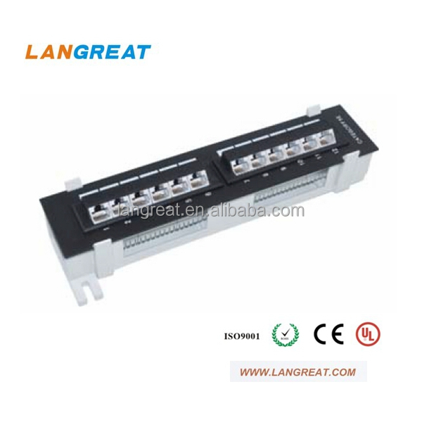 12-Port Cat6 / Cat 6 Vertical Mini Patch Panel with 89D Bracket